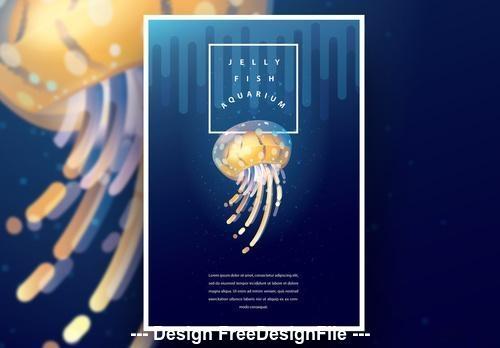 Aquarium poster and yellow jellyfish vector