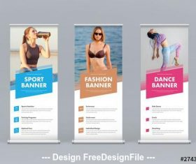 Athletic roll up banner with colored rectangles vector