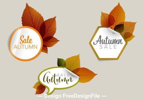 Autumn sale sticker icon vector