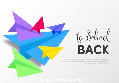 Back to school banner with colorful paper planes vector