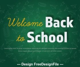 Back to school banner with green board background vector