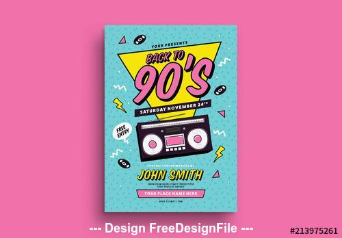 Back to the 90s event flyer vector