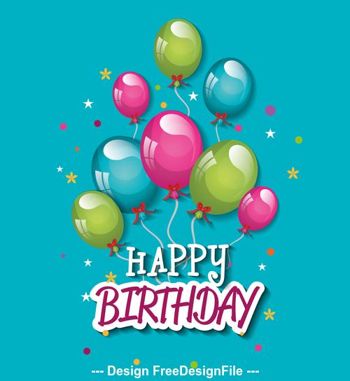 Balloon decoration birthday greeting card vector