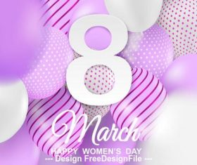 Balloons background womens day greeting card vector