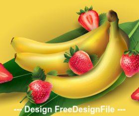 Banana and strawberry banner vector