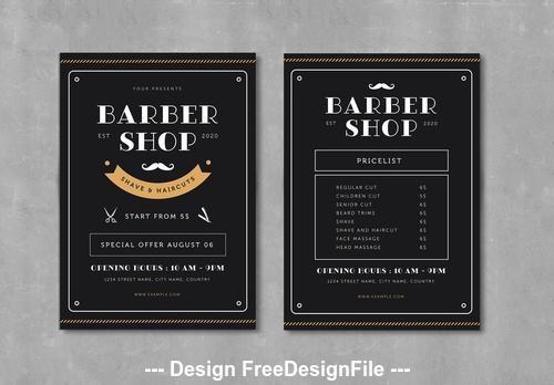 Barber shop flyer vector
