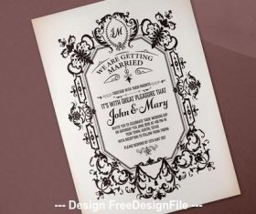 Baroque wedding invitation vector
