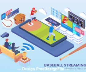 Baseball streaming vector concept
