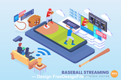Baseball streaming vector concept