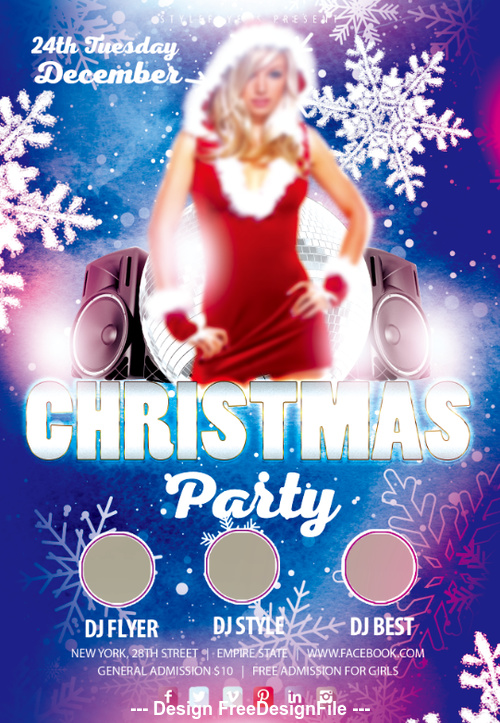 Beautiful Girl wiht Christmas Party Flyer PSD Template