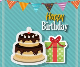 Beautiful birthday greeting card vector