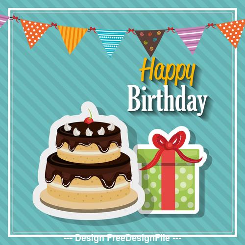 Beautiful birthday greeting card vector