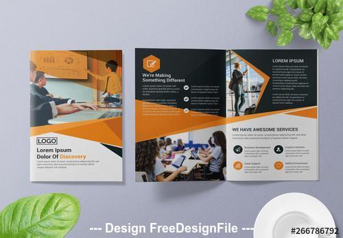 Bifold Brochure orange and dark gray vector