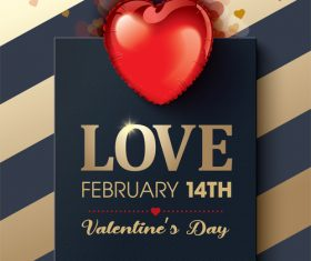 Black and gold bars valentines day greeting card vector