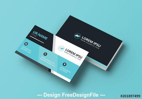 Black and light blue business card vector