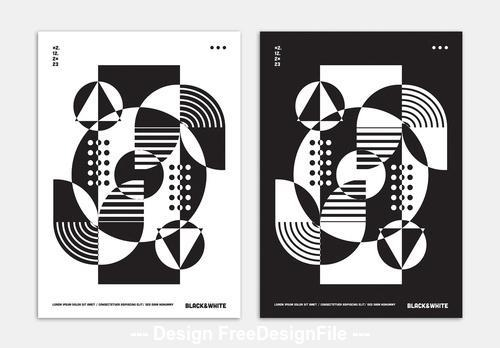 Black and white abstract poster vector