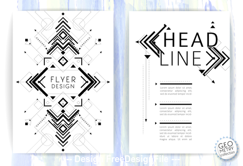 Black and white line flyer vector