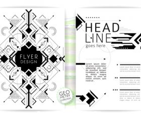 Black and white line pattern flyer vector