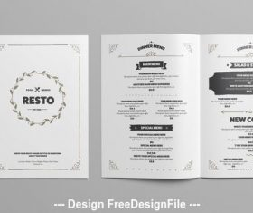 Black and white restaurant menu vector
