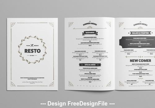 Black and white restaurant menu vector
