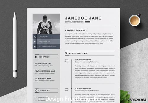 Black and white resume and cover with sidebar vector