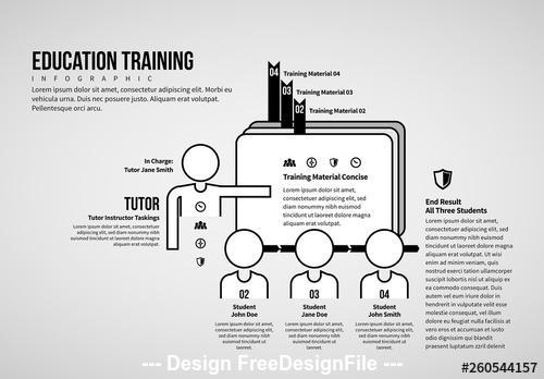 Black and white vector education training infographic vector
