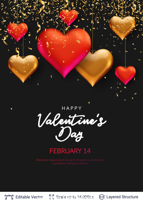 Black background valentines day pretty greeting card vector