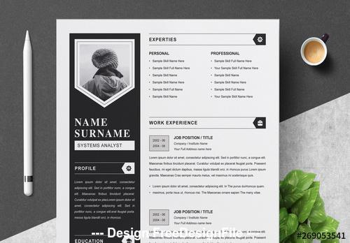 Black resume set with gray vector