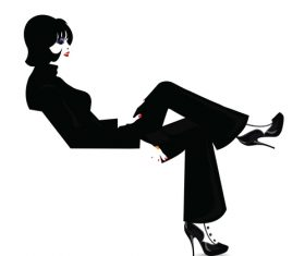 Black suit fashion woman vector