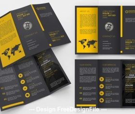 Black trifold brochure layout with yellow vector