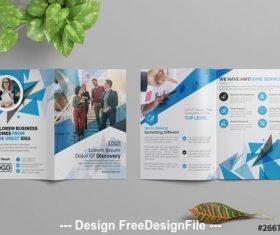 Blue abstract bifold brochure vector