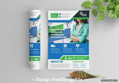 Blue and green health care flyer with graphic icons vector