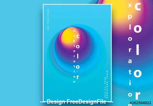 Blue background blurred gradient circles poster vector