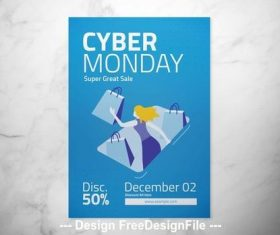 Blue cyber monday flyer vector