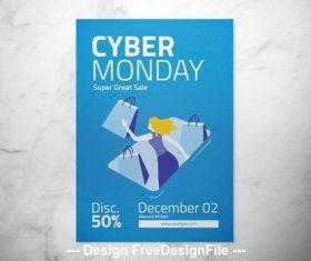 Blue cyber monday flyer vector