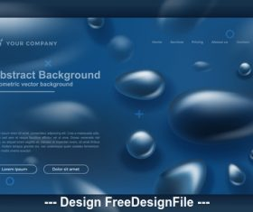 Blue drop shape abstract background element vector