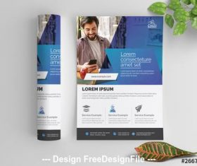 Blue gradient business flyer vector