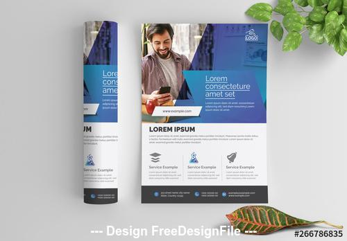 Blue gradient business flyer vector