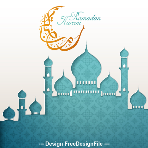 Blue mosque silhouette Ramadan Kareem vector