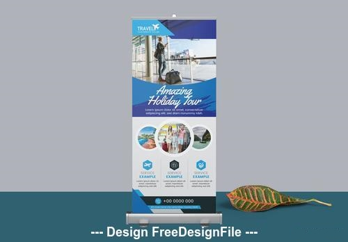 Blue roll up banner layout vector
