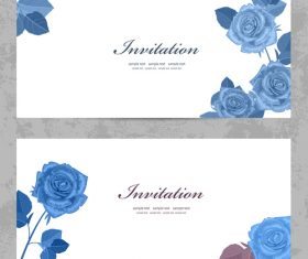 Blue rose flower card vector