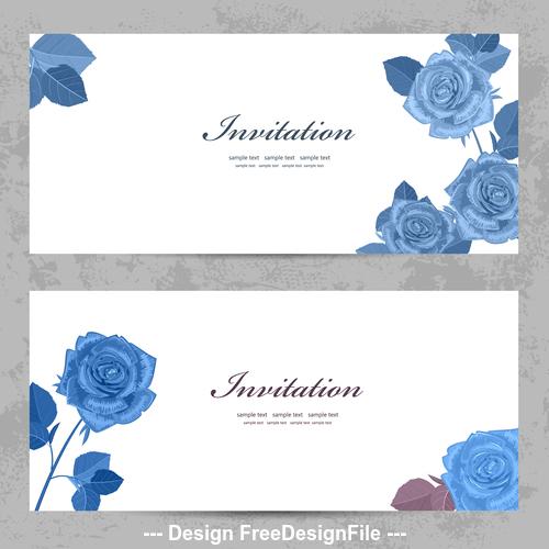 Blue rose flower card vector