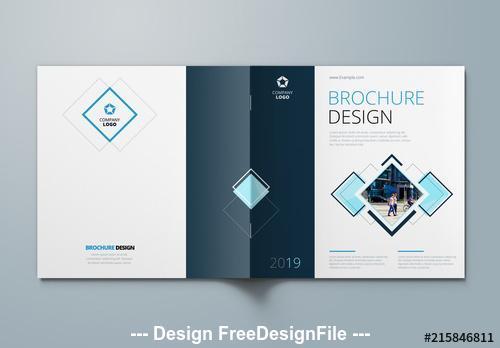 Blue square brochure cover vector