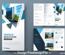 Blue trifold brochure with triangles vector