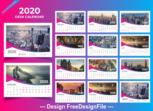 Blue with purple 2020 Wall calendar vector