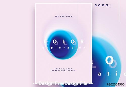 Blurred gradient circles poster vector