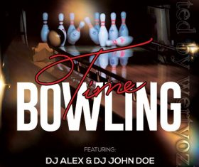 Bowling Time Poster and Flyer PSD Template
