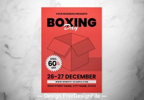 Boxing day event graphic flyer vector