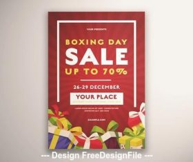 Boxing day sale flyer presents vector