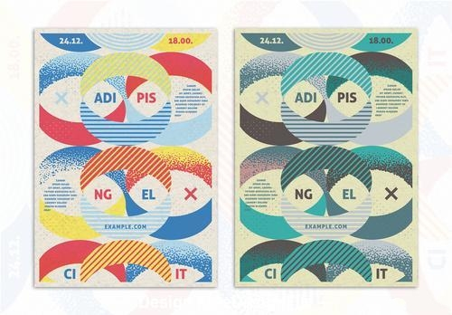 Brochure design oval shapes background vector